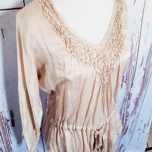 Rebecca Taylor beige tie waist pintuck blouse